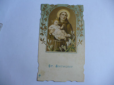 Santino Antico St. Anthony Sant'antonio N.301 Retro Con Data A Mano 1918