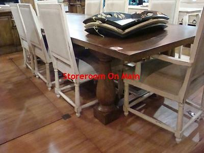 """117"""" Hemmingway Farmhouse Dining Table in Antique Oak with distressing Monastery"""