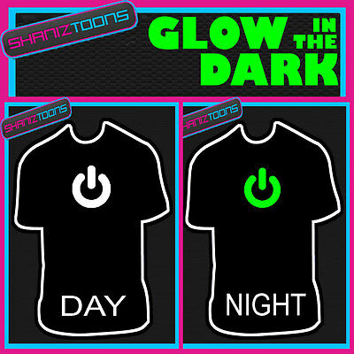 Power On Computer Geek Funny Icon Glow In The Dark Printed Tshirt