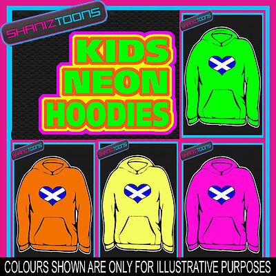 Scotland Scottish Flag Loveheart Neon  Electric Kids Childs Hoodie Hoody