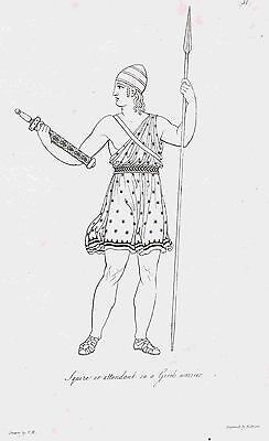 Squire to Greek Warrior Spear & Sword- 1809 Copper Plate Engraving by Moses