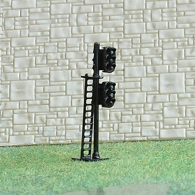 2 pcs N Scale 1:160 LEDs Made dual heads Railway Signals 3 over 3 G/Y/R G/Y/R #N