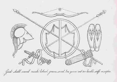 Greek Shield-Bow & Quiver-Sword-Staffs-Greaves 1809 Copper Engraving by Moses