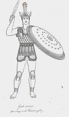Greek Warrior with Huge Shield-Sword-From Bronze-1809 Copper Engraving by Moses