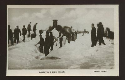 Scotland Caithness THURSO Railway Snow Wreath early RP PPC digging out engines
