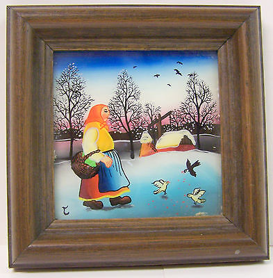 Behind the Glass painting Wood Frame 7-1/4x8-1/2 Early Morning Walk to Market563