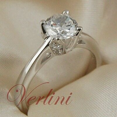 1.25 Ct Round Cut Solitaire Wedding Engagement Ring in Sterling Silver Size 5-10
