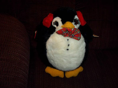 PLUSH DOLL FIGURE FAIRBANKS RUSS BERRIE CARESS SOFT PETS CHRISTMAS PENGUIN