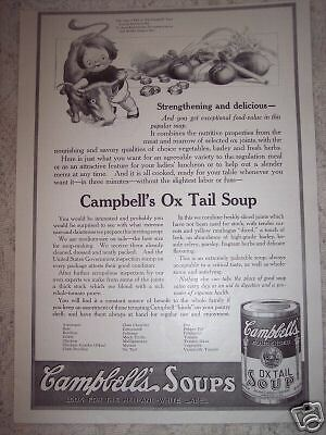 1917 CAMPBELLS Kid Ox Tail SOUP vintage ad