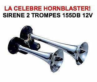 HORNBLASTER SIRENE AMERICAINE 2 TROMPES 155db! HARLEY BUELL DUCATI GOLDWING BMW