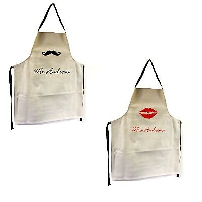 Personalised Bride Groom Mr Mrs Lips Moustache Wedding Gift Apron