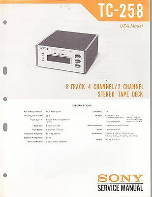 SONY TC-258 SERVICE MANUAL for an EIGHT TRACK CARTRIDGE DECK