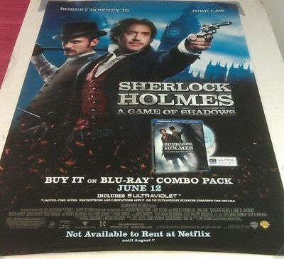 SHERLOCK HOLMES A GAME OF SHADOWS DVD MOVIE POSTER 1 Sided ORIGINAL 27x40
