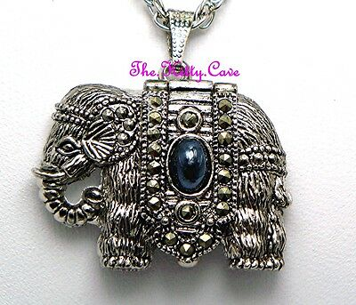 Silver Vintage Victorian Colonial Indian Africa Elephant Marcasite Pendant Watch
