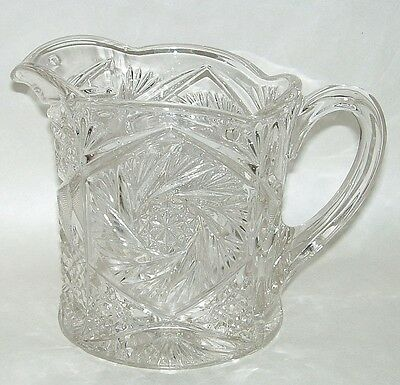 "Antique EAPG Ornate Whirling Star 6"" Clear Glass Water Pitcher"