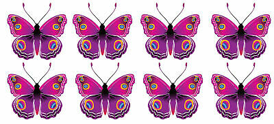 24 x PRETTY PINK DETAILED BUTTERFLY EDIBLE CUPCAKE TOPPER RICE WAFER PAPER B72