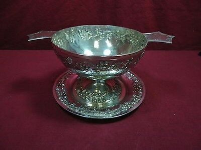 Mexico Mexican Sterling Silver Colonia Caviar Dish & Underplate Hand Hammered