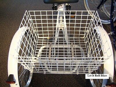 Tricycle 3-Wheeler Basket White Vinyl Coated Steel Foldable Adult Trikes New