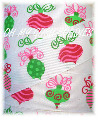 1 5 Retro Christmas Ornaments Pink Lime Red Grosgrain Ribbon 4 Hairbow Bow