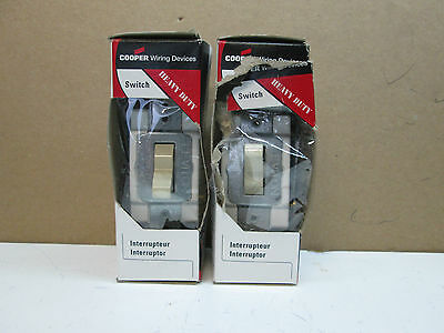 Lot of 2 Cooper CS320V-BOX Heavy Duty 3-Way Grounded Switches 20A 120/277V Ivory