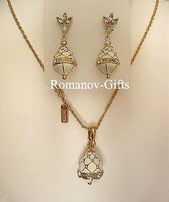 Russian Imperial FABERGE Regal White EGG Necklace Set w/ Earrings (Posts)