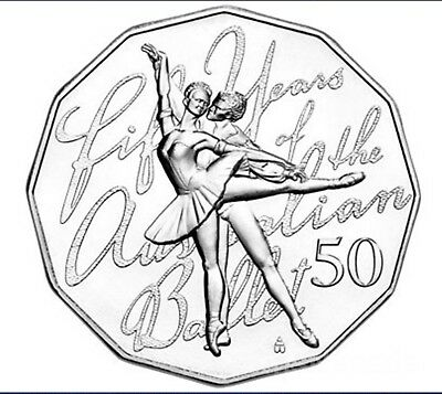 50c 2012 50th Anniversary of the Australian Ballet 50 Cent Coin UNC in card