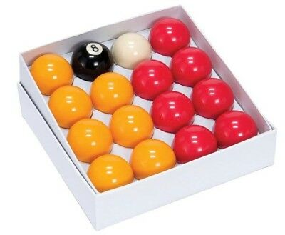 """Reds & Yellows 2"""" Pool Balls Set-Standard Size For English 1-7/8"""" White Cue Ball"""