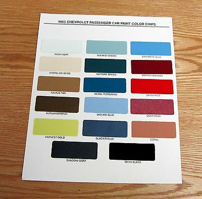 1955 Chevy Paint Chip Chart All Original Colors ** Usa Made **