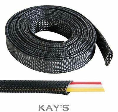 Black Braided Cable Sleeving Sheathing - Auto  Electrics Wire Harnessing, Marine