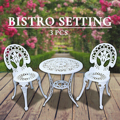 Outdoor Setting Cast Aluminium Bistro Table Chair Setting 3 pc Vintage Patio