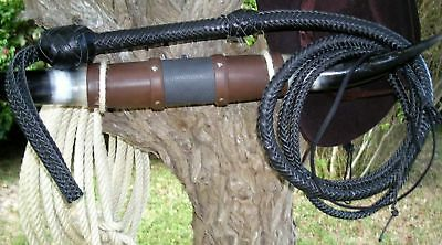 8 ft long16 plait Black Zorro Bullwhip Indiana Jones Stuntman Leather Bull Whip