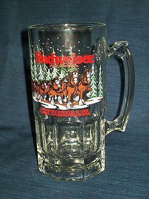 "Vintage 8"" BUDWEISER Clydesdales Christmas Winter 1989 glass BEER MUG or Stein"