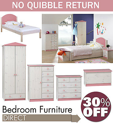 Wendy Childrens Furniture, Chest of Drawer, Bedside Table, Single Bed, Wardrobe
