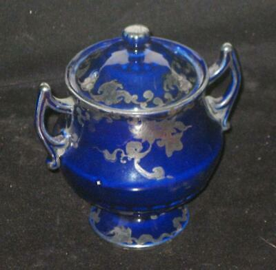 Antique Cobalt Blue Small Urn with Handles and Lid 19th Century