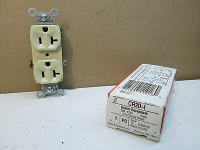 Lot of 2 Pass & Seymour CR20-I Duplex Receptacles 20A 125V Ivory (Repl. 5350-SI)