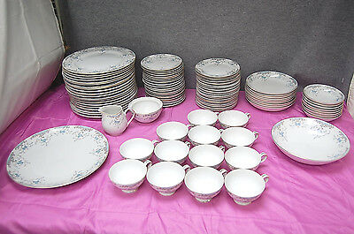 Imperial Seville Blue Floral China Tan Scroll  95 Piece Set  L2550