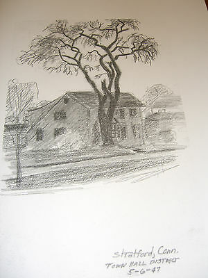 Town Hall District, Stratford,CT;5/6/47 Sketch-J.Tabor,(1/150)Litho Ltd Ed Prnt
