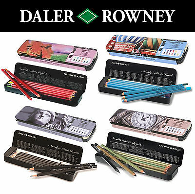 Daler Rowney Nostalgic Artist Pencil 12 Tins Watercolour Pastel Graded Sketching