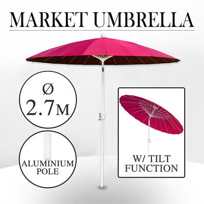 2.7m Market Umbrella Tilt mechanism, Aluminium Pole, Fibre Glass Ribs