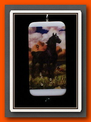 Black Stallion Horse In Fall Landscape Domino Necklace