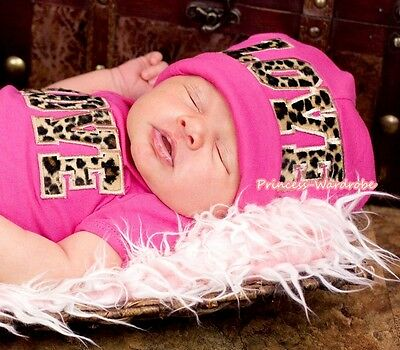 LEOPARD LOVE Hot Pink Cotton Warm Hat Cap for Baby Girl Clothing 1PC 3-12month