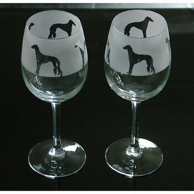 Saluki Dog Wine Glasses classic tulip shape..Boxed