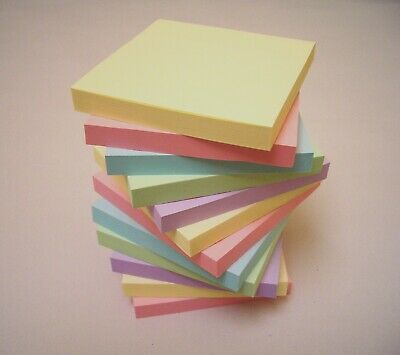 """1200 PASTEL Remove It Sticky Post Notes 76mm x 76mm 3"""" x 3"""" (12 packs of 100)"""