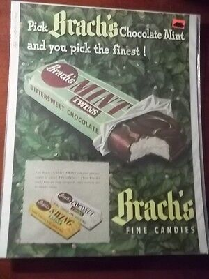 1948 Vintage Print Ad Brach's Chocolate Mint Candy 10X13 Swing Twins Coconut