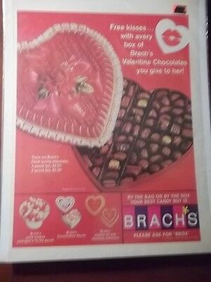 1967 Vintage Print Ad Brach's Chocolate Valentine's Day Candy 10X13 Free Kisses