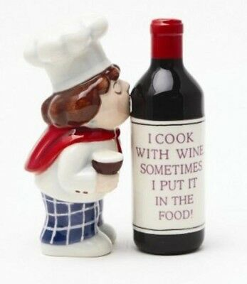 Collectible Magnetic Salt Pepper Shakers Ceramic Chef Kissing Wine Bottle Cute