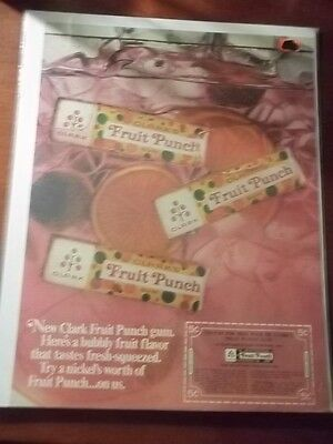 1967 VINTAGE AD FOR CLARK'S FRUIT PUNCH CHEWING GUM 10X13 COUPON FOR FREE PACK