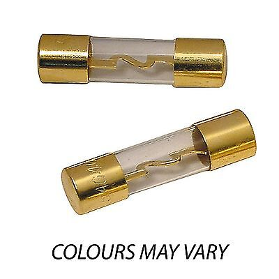 Pair Of Gold Agu Glass Type Inline Fuses 20 30 40 50 60 Or 80 Amp Car Power Fuse