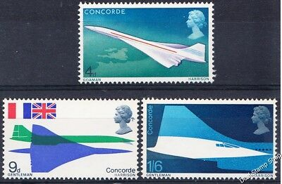 GB 1969 First Flight of Concorde SG784-786 Complete Set Unmounted Mint
