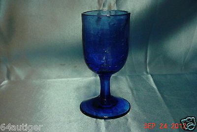 3oz Cobalt Crackle Glass Goblet - Unknown Maker or Pattern
